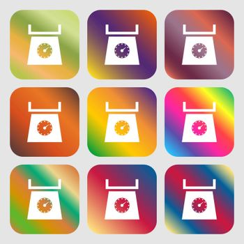 kitchen scales icon sign . Nine buttons with bright gradients for beautiful design. Vector illustration