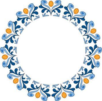Decorative illustrated circle frame made of blue and orange elements