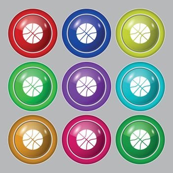 Basketball icon icon sign. symbol on nine round colourful buttons. Vector illustration