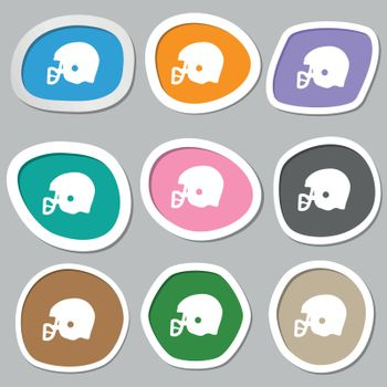 american football helmet icon symbols. Multicolored paper stickers. Vector illustration