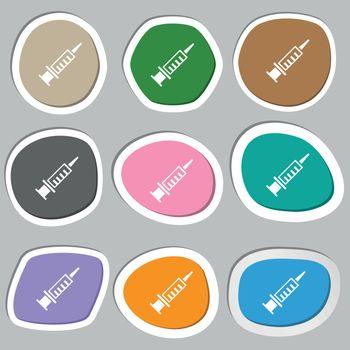 Syringe icon symbols. Multicolored paper stickers. Vector illustration
