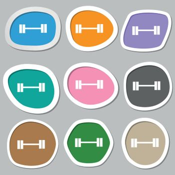 Dumbbell icon symbols. Multicolored paper stickers. Vector illustration