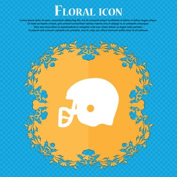 american football helmet icon icon. Floral flat design on a blue abstract background with place for your text. Vector illustration