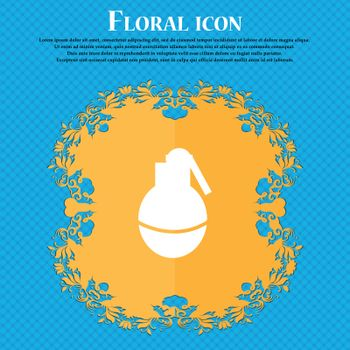 Hand Grenade icon icon. Floral flat design on a blue abstract background with place for your text. Vector illustration