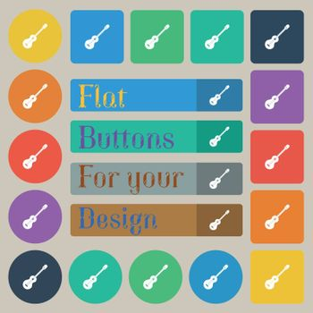 acoustic guitar icon sign. Set of twenty colored flat, round, square and rectangular buttons. Vector illustration