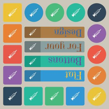 Syringe icon sign. Set of twenty colored flat, round, square and rectangular buttons. Vector illustration