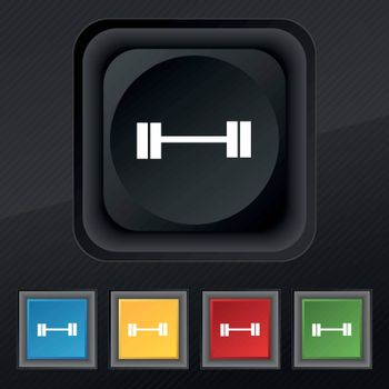 Dumbbell icon symbol. Set of five colorful, stylish buttons on black texture for your design. Vector illustration