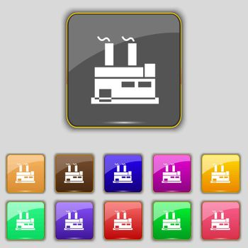 factory icon sign. Set with eleven colored buttons for your site. Vector illustration