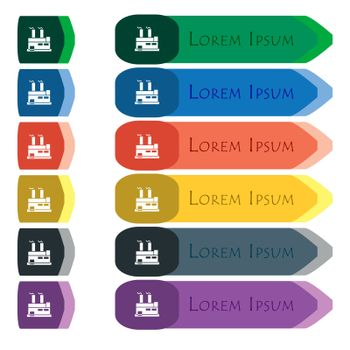 factory icon sign. Set of colorful, bright long buttons with additional small modules. Flat design. Vector