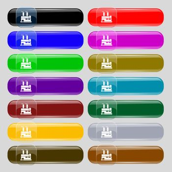 factory icon sign. Set from fourteen multi-colored glass buttons with place for text. Vector illustration