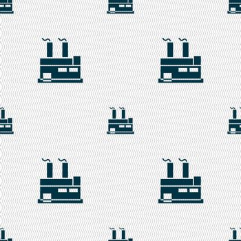 factory icon sign. Seamless pattern with geometric texture. Vector illustration