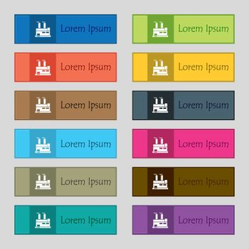 factory icon sign. Set of twelve rectangular, colorful, beautiful, high-quality buttons for the site. Vector illustration