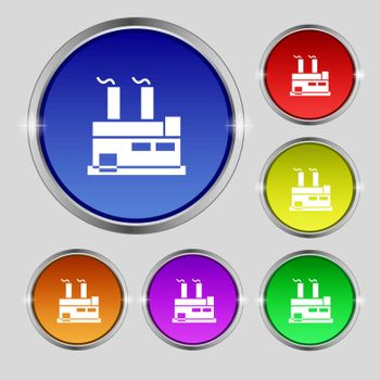 factory icon sign. Round symbol on bright colourful buttons. Vector illustration