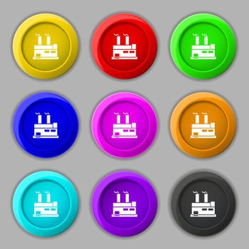factory icon sign. symbol on nine round colourful buttons. Vector illustration