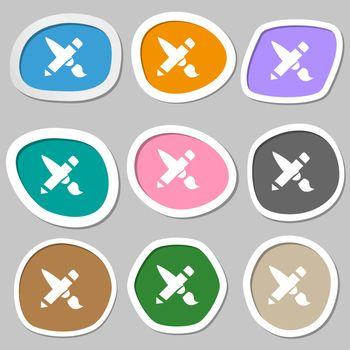 Brush Icon symbols. Multicolored paper stickers. Vector illustration