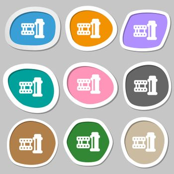 film Icon symbols. Multicolored paper stickers. Vector illustration