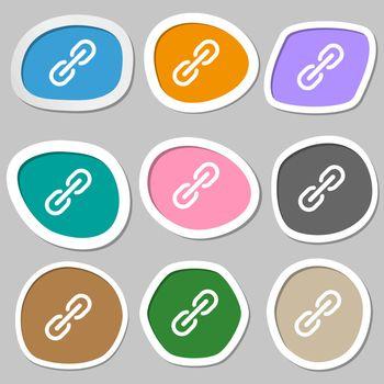 Chain Icon symbols. Multicolored paper stickers. Vector illustration