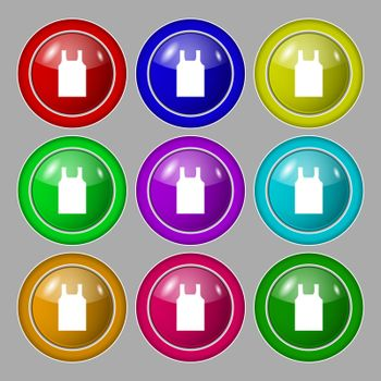 Working vest icon sign. symbol on nine round colourful buttons. Vector illustration