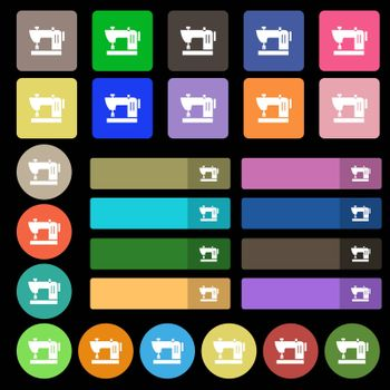Sewing machine icon sign. Set from twenty seven multicolored flat buttons. Vector illustration