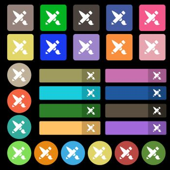 Brush Icon sign. Set from twenty seven multicolored flat buttons. Vector illustration