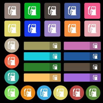 Fuel icon sign. Set from twenty seven multicolored flat buttons. Vector illustration