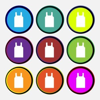 Working vest icon sign. Nine multi colored round buttons. Vector illustration