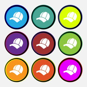 Ball cap icon sign. Nine multi colored round buttons. Vector illustration