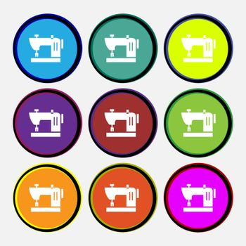 Sewing machine icon sign. Nine multi colored round buttons. Vector illustration