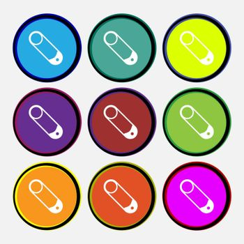 Pushpin icon sign. Nine multi colored round buttons. Vector illustration