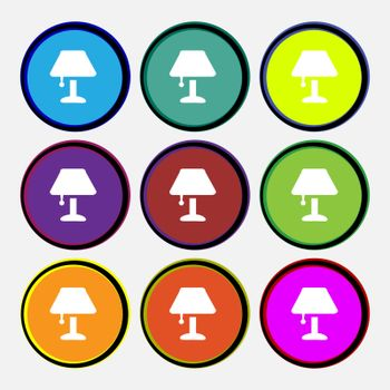 Table lamp Icon sign. Nine multi colored round buttons. Vector illustration