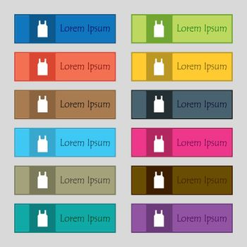 Working vest icon sign. Set of twelve rectangular, colorful, beautiful, high-quality buttons for the site. Vector illustration