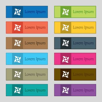 Fan Icon sign. Set of twelve rectangular, colorful, beautiful, high-quality buttons for the site. Vector illustration
