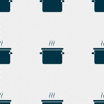 pan cooking icon sign. Seamless pattern with geometric texture. Vector illustration