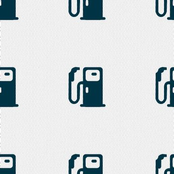 Fuel icon sign. Seamless pattern with geometric texture. Vector illustration