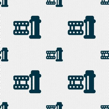 film Icon sign. Seamless pattern with geometric texture. Vector illustration