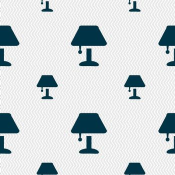 Table lamp Icon sign. Seamless pattern with geometric texture. Vector illustration