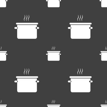pan cooking icon sign. Seamless pattern on a gray background. Vector illustration