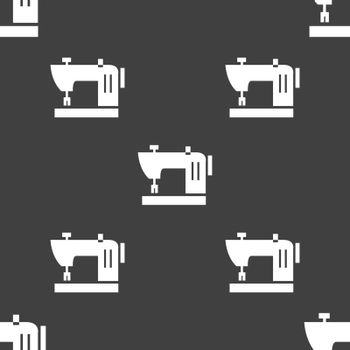 Sewing machine icon sign. Seamless pattern on a gray background. Vector illustration