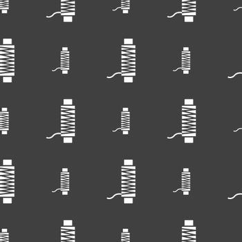 Thread Icon sign. Seamless pattern on a gray background. Vector illustration