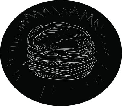 Drawing sketch style illustration of a cheeseburger set inside oval shape on isolated black background.