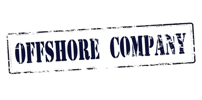 Rubber stamp with text offshore company inside, vector illustration