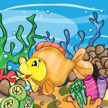Illustration of a happy goldfish cartoon character