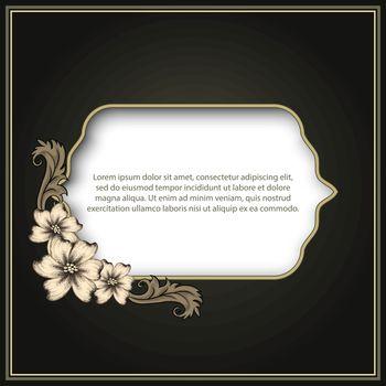 Vintage frame with floral decor. Vector illustration, EPS 10