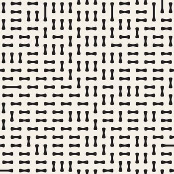 Irregular Rounded Shapes. Abstract Geometric Background Design. Vector Seamless Black and White Pattern.