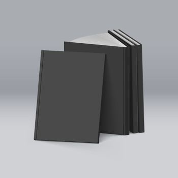 Stack of Blank Black Books on. Mockup Template