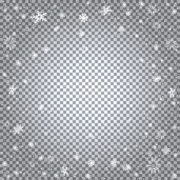 Snowfall closeup and light reflect effect isolated on transparent backdrop. Christmas and New Year falling snow template