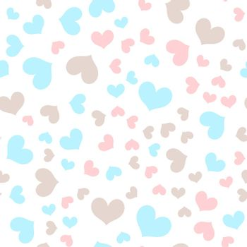 romantic chaotic seamless vector pattern made of multicolored hearts shapes