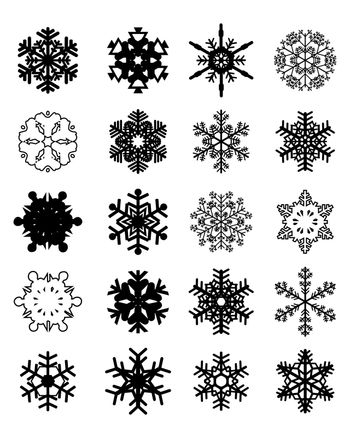 Set of different black snowflakes on a white background