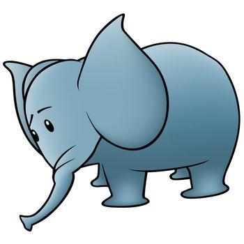 Small Blue Elephant - Colored Cartoon Illustration, Vector