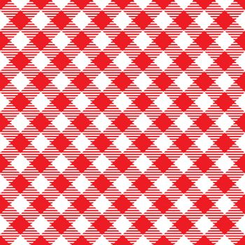 Seamless Red White Traditional Gingham Pattern Fabric Texture for Design Template